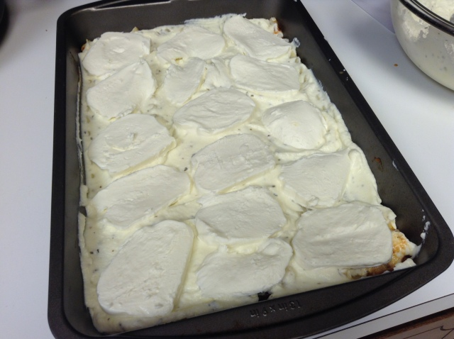 Place the sliced mozzarella cheese on top... then repeat the last two steps