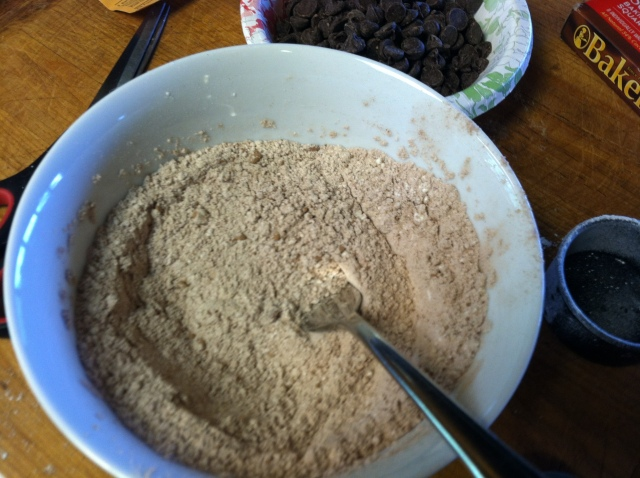 In a separate bowl add the flour, cocoa powder and salt and mix together