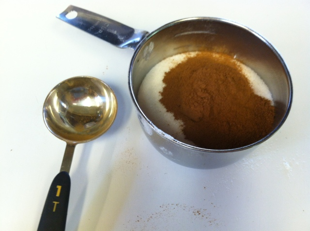 Mix cinnamon and sugar together in a separate bowl.